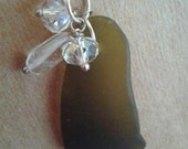 Seaglass olive green oval silver pendant