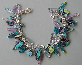 Aqua, Lilac, Bergamini Furnace Glass, Cane Glass Beads, Swarovski Crystal, Acrylic Pattern Charms Dangle Charm Bracelet