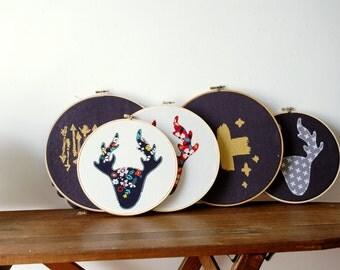 Woodland Wall Decor, Hand Embroidery, Needlework, Deer Antlers, Nursery Theme Baby, Modern Swiss cross, Southwest Florals, Hoop Art