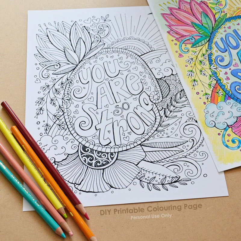 DIY Printable Coloring Page You Are Strong Adult Colouring