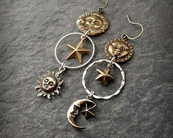 Sun Moon Star Earrings Celestial Earrings Cosmic Earrings Asymmetric Mixed Metals Assemblage Sterling Silver and Bronze Gift for Astronomy