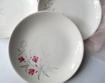 Vintage Canonsburg Citation Larkspur Fuschia and Blue Floral Bread and Butter Plates Set of Four