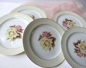 Vintage Narumi Yellow Rose Occupied Japan Bread & Butter Plates Set of Five