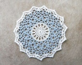 Bridal Blue Lace Crochet Doily, French Cottage Decor, Soft Pastels
