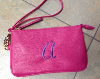 Monogrammed purse wristlet hot pink