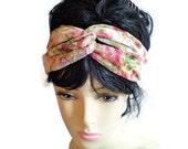 Rose Lace Twisted Headband, Cream Rose Twist Headband, Rose Twisted Headband, Floral Twisted Headband