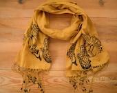 long cotton scarf, mustard, stamped hamsa carnation