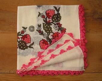 vintage turkish scarf, off white pink strawberry