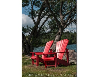 Lake House Wall Art ~ Beach Chair ~ Photography Print, Cottage Chic, Red Chairs, Cabin Decor, Gift for Her, Interior Design, Home Staging