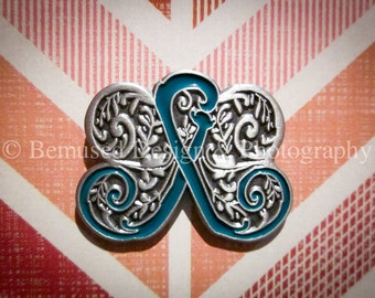 Sale - Lot of 10 Filigree Butterfly Teal Ribbon Ovarian Cancer Lapel Pins