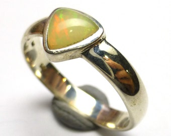 Welo Opal Ring Size 7.5 Ethiopian Gemstone Style Sterling Silver White Stone One of a Kind Rare Handmade Lisajoy Sachs Design Trillion Shape
