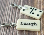LAUGH Charm Mini Domino Clip-on Pendant for Bookmark Keychain Necklace Bracelet by Kristin Victoria Designs Mother Sister Bride Bridesmaid