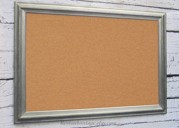 large modern cork board 41x29 brushed nickel new by
