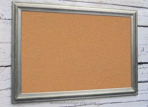 Large modern cork board 41x29 brushed nickel new by for Modern cork board