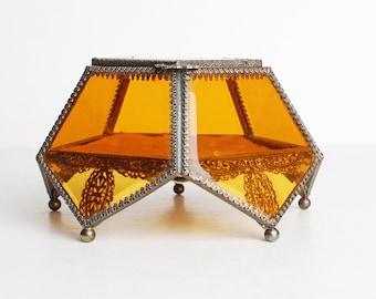40s 50s Ormolu Filigree Beveled Glass Bronze Vitrine Casket Box