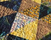 Sale! Yellow, blue, white, grey, and black New York City quilt