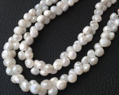 Brand New, Rare Natural Mystic Cream White Moonstone Faceted Onions Shape Briolettes,6-7mm size,1/2 Strand,Amazing Item.