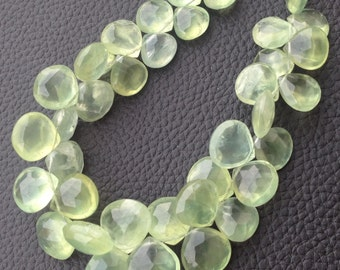 GIANT Size, 1/2 Strand Strand, Finest Quality PREHNITE Faceted Heart Shape Briolettes, 11-14mm Long,Superb Item at Low Price