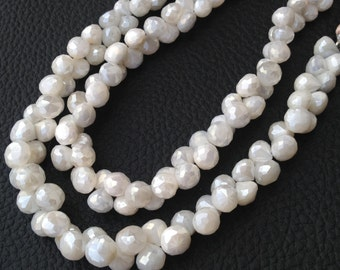 Brand New, Rare Natural Mystic Cream White Moonstone Faceted Onions Shape Briolettes,6-7mm size,Full Strand,Amazing Item.