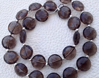 Brand New, Full 8 Inch Long Strand,SMOKY Quartz Faceted Full Drilled Coin Shape Briolettes,8x8mm size.