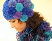 ON SALE 35 % SALE Crochet Hat /  Pom Pom Beanie Crochet  Hat / Rts / Sale