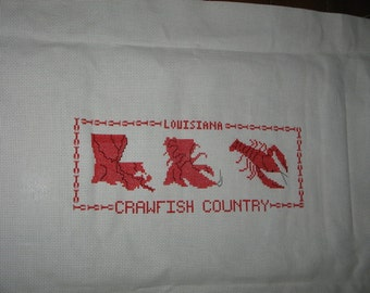 Louisiana Seafood CRAWFISH COUNTRY Red Finished Cross Stitch