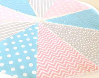 Boy Girl Twins First Birthday Banner, Bunting, Fabric Pennant Flags, Photo Shoot Prop, Pastel, Pink, Blue Grey, Twin Baby Nursery Garland