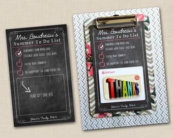 Teacher Appreciation Gift Summer To Do List - personalized 5x8 printable file