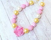 pink yellow and white beaded  chunky necklace