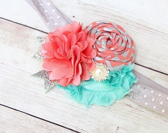 We All Float On- coral aqua mint and silver rosette and chiffon headband