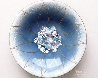 Gerte Hacker Small Blue Floral Mid Century Modern Enamel Dish