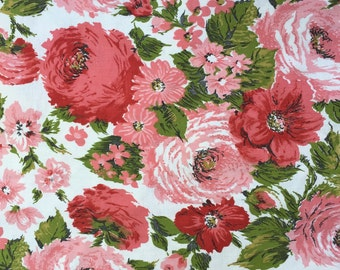 Vintage Pink Flower Floral Drapery Fabric