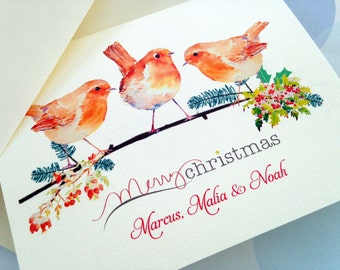 Personalized Christmas Cards, Set of 10 cards