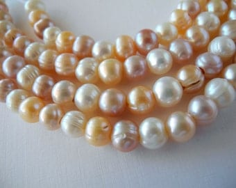 Large Hole Pearls Freshwater Pearls Mixed Natural Colors 8mm 27 Pieces White Peach Mauve