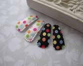 Party Dots . baby snap clips . toddler hair accessory . black white