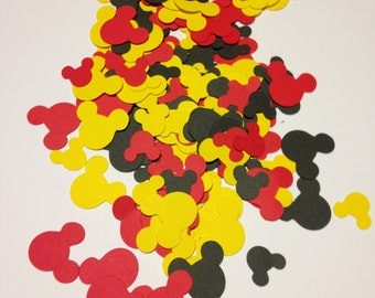 100 Mickey Mouse Paper Die Cut Shapes - 1/2 and 3/4 inch