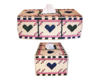 Plastic Canvas Three of Hearts Tissue Box Cover PDF Format Instant Download