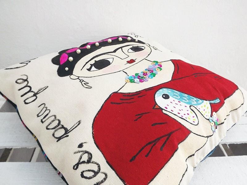 illustration der frida kahlo handgemalte kissen pies para. Black Bedroom Furniture Sets. Home Design Ideas