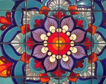 """24""""x24"""" Mandala Hand Glazed Tile Mural"""
