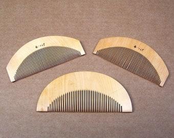 Japanese Hair Comb 3 Vintage Kanzashi Geisha Hair Wooden Comb Dressing Comb Vanity Comb (EP)