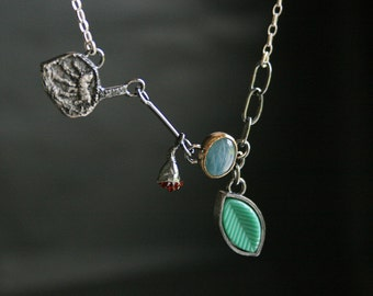 Natural aquamarine, 14k gold, garnet and sterling silver botanical necklace - OOAK, ready to ship