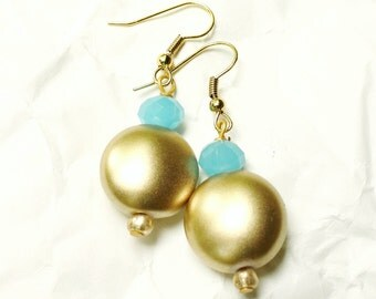 Matte Gold Beaded Drop Earrings, Aqua Crystals, Dangle French Hook, Mediterrania