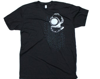 Mens Deep Sea Scuba Diver Anchor T-Shirt Black
