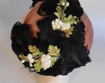 Cocktails Are Being Served - Vintage 1950 Black Curled Feather Cookie Cutter Fascinator Hat w/Florals