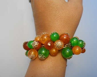 Heading to New England This Autumn - 1950s Autumn Colours Lucite Balls Filigree Chain Link Bauble Bracelet