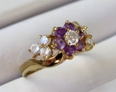 Vintage Signed LIND 14K HGE Gold Plated Amethyst and CZs Purple Flower Ring Size 9