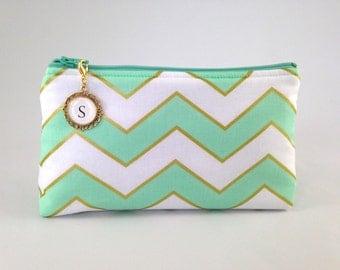Mint Green, White and Metallic Gold Chevron Monogrammed Zipper Clutch   Cosmetic or Makeup Bag   Custom Bridal, Bridesmaid Gift