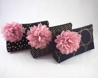 Black and Gold Clutch. Fabric Flower Clutch. Black & Gold Bridesmaid Clutch. Personalized Clutches. Black Cosmetic Bag. Black Zipper Clutch
