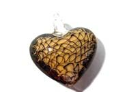 Murano HEART Pendant VINTAGE Glass Pendant Gold Brown Lampwork Heart Pendant Amber Swirls Vintage Jewelry Supplies Lampwork Glass (J22)