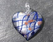 Murano HEART Pendant VINTAGE Glass Pendant Silver Foil Lampwork Heart Pendant Blue Copper Vintage Jewelry Supplies Lampwork Glass (J36)